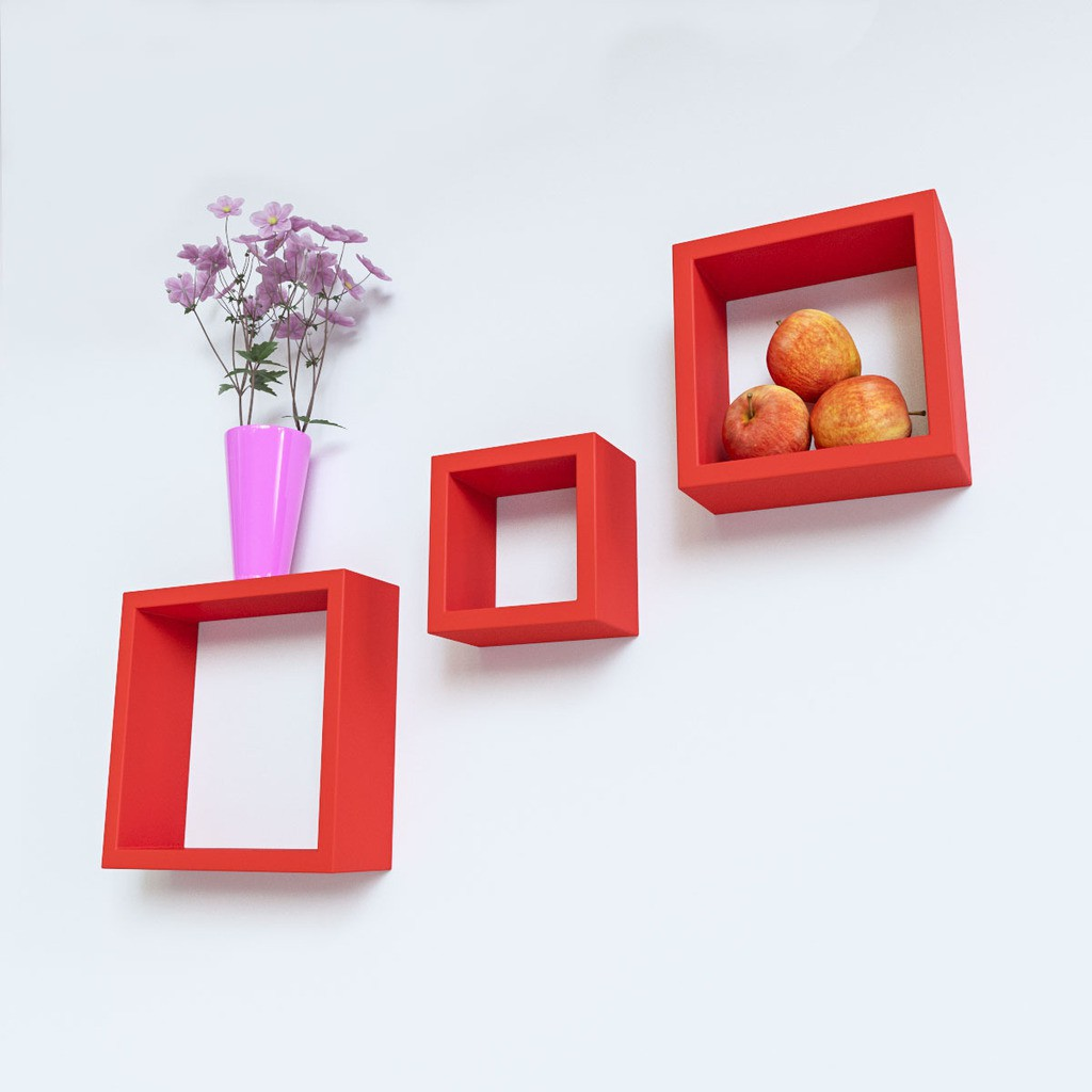 View DecorNation Nesting Square MDF Wall Shelf(Number of Shelves - 3, Red) Furniture (DecorNation)