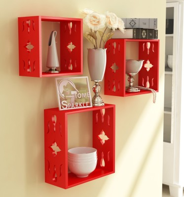 Home Sparkle 3 Cube Shelves Wooden Wall Shelf(Number of Shelves - 3, Red)