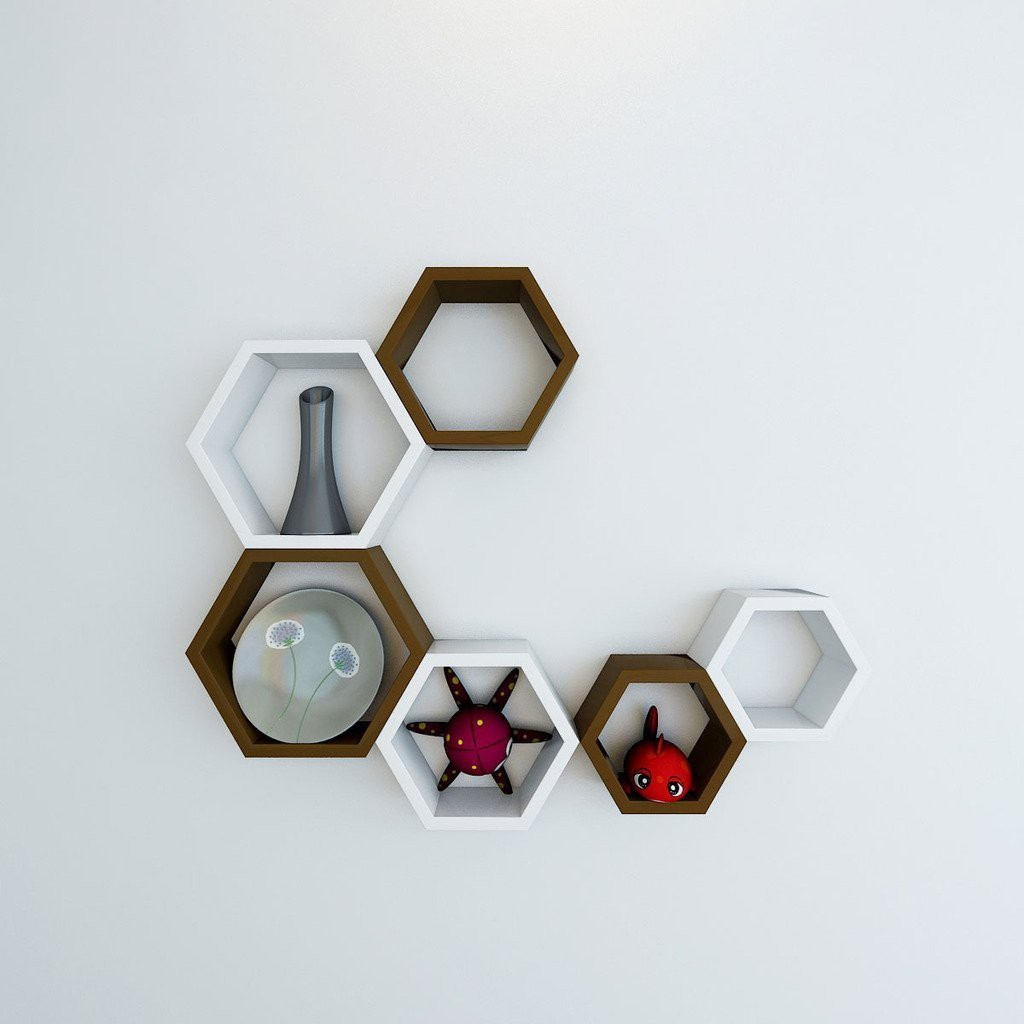 View ENCORE DECOR hexagon MDF Wall Shelf(Number of Shelves - 6, Brown, White) Furniture (Encore Decor)