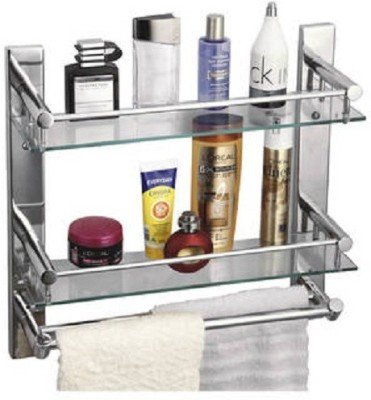 DEVICE IN LION GLASS SHELF WITH DOUBLE TOWEL ROD Steel Wall Shelf