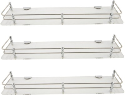 Dolphy Shelf 15x5 Inch-Set Of 3 Microfibre, Stainless Steel Wall Shelf