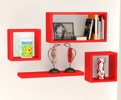 Home Sparkle Set of Cube Square Plain Wooden Wall Shelf