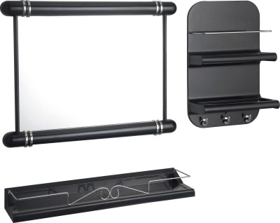 JVS 3 Pc Bathroom Orgainizer (Black) Plastic Wall Shelf