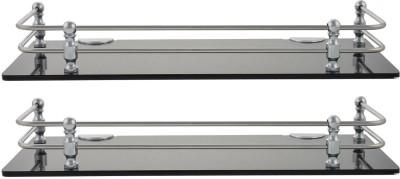 Dolphy Set Of 2 Smoke Shelf-12x5 Inch Microfibre, Stainless Steel Wall Shelf