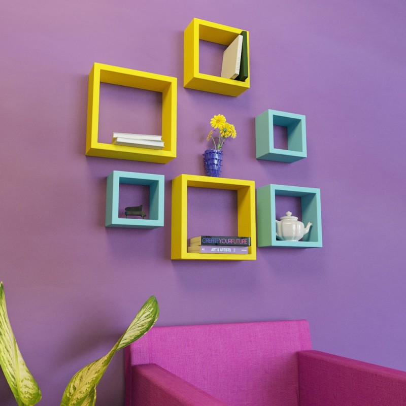 DecorNation Nesting Square Shape MDF Wall Shelf(Number of Shelves - 6, Blue, Yellow)