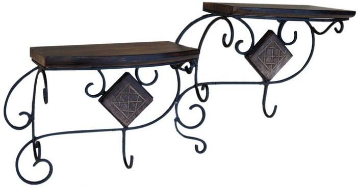 View Zuniq Wooden, Cast Iron Wall Shelf(Number of Shelves - 2, Black, Brown) Furniture (Zuniq)