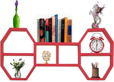 Furniselan Red in Double Decker Hexagon Shape MDF Wall Shelf