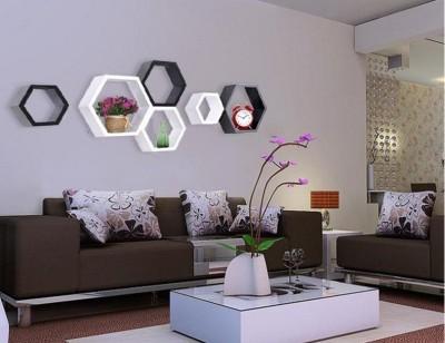 hardika furniture Hexagon Shape MDF Wall Shelf