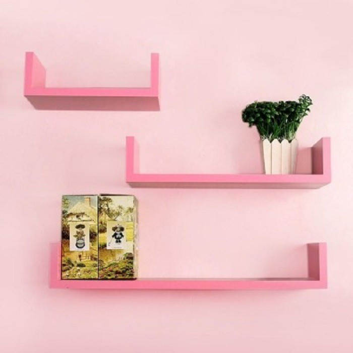 View Wallz Art U Shaped MDF Wall Shelf(Number of Shelves - 3, Pink) Furniture (Wallz Art)
