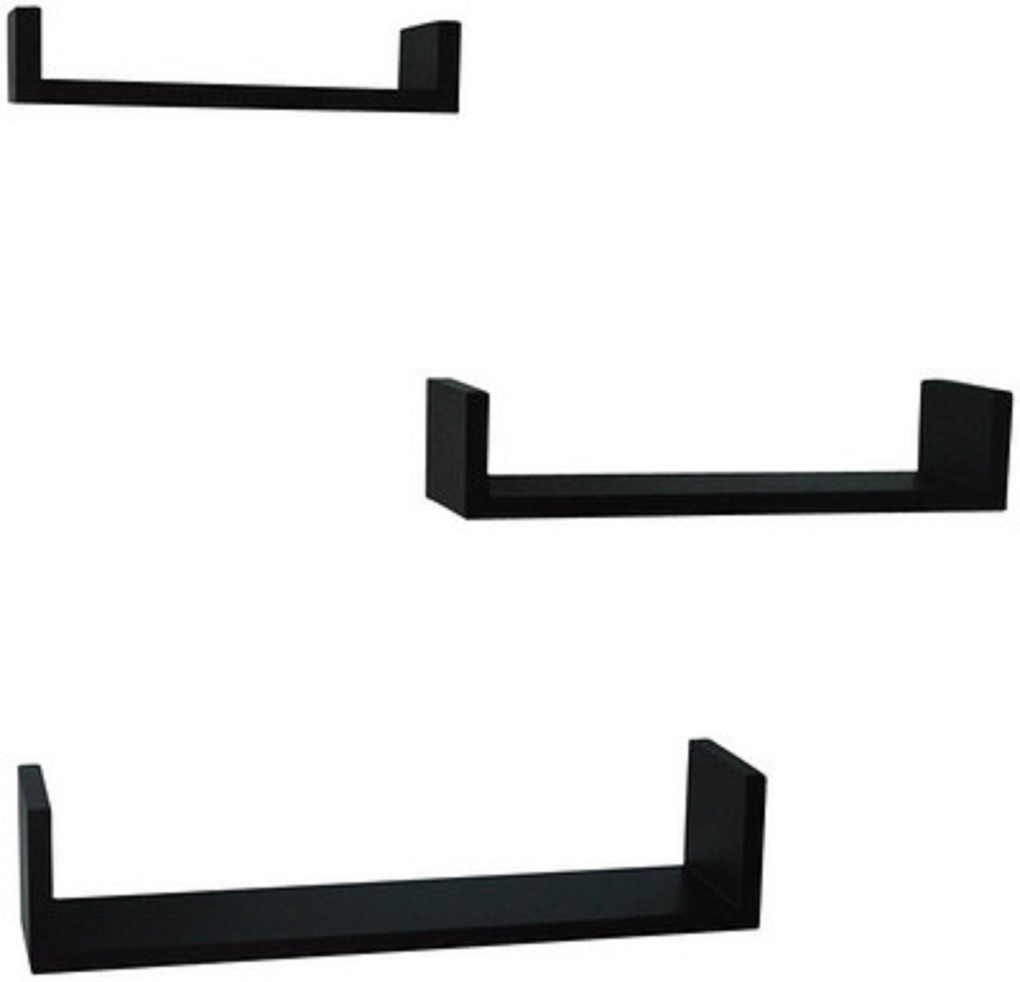 View Arsalan U Shaped Wooden Wall Shelf(Number of Shelves - 3, Black) Furniture (Arsalan)