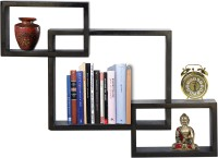 Furniselan interlocking Black Glass Wall Shelf(Number of Shelves - 3, Black)