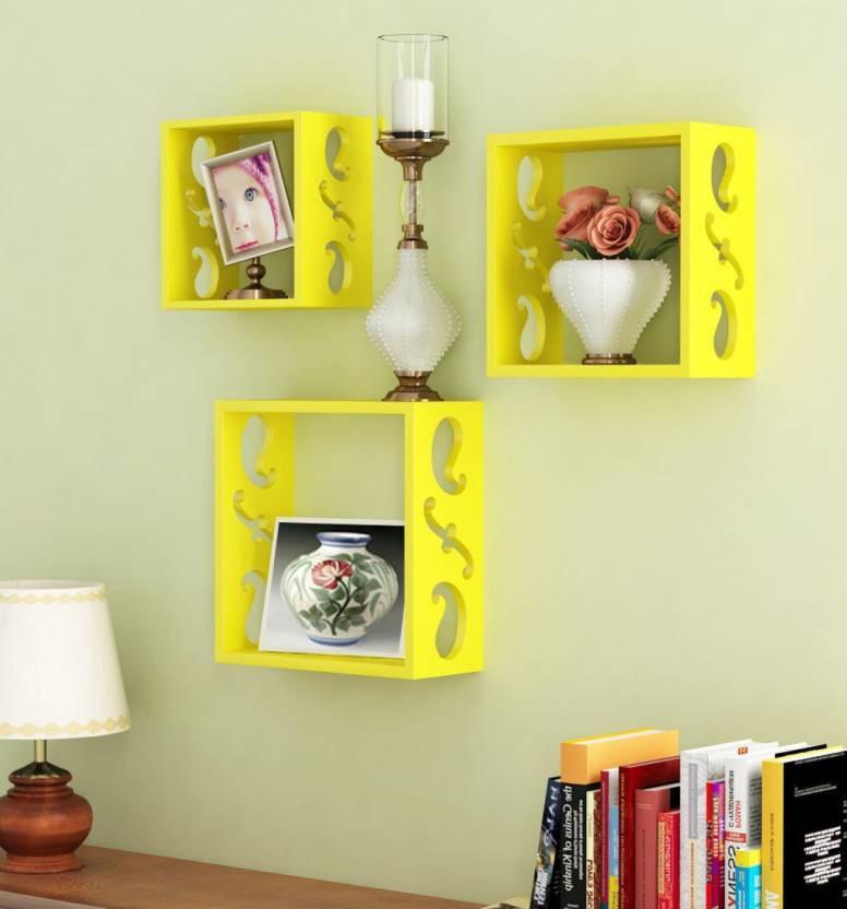 View Fabulo MDF Wall Shelf(Number of Shelves - 3, Yellow) Furniture (Fabulo)