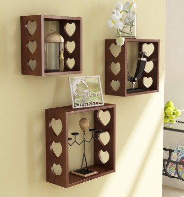 Home Sparkle 3 Cube Shelves Wooden Wall Shelf(Number of Shelves - 3, Brown)