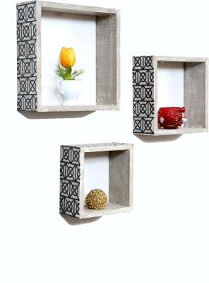 Importwala Handpainted District Brown Finish wall Shelves- Set of 3 MDF Wall Shelf