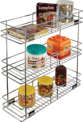 Leaves Stainless Steel Wall Shelf(Number of Shelves - 3, Steel)