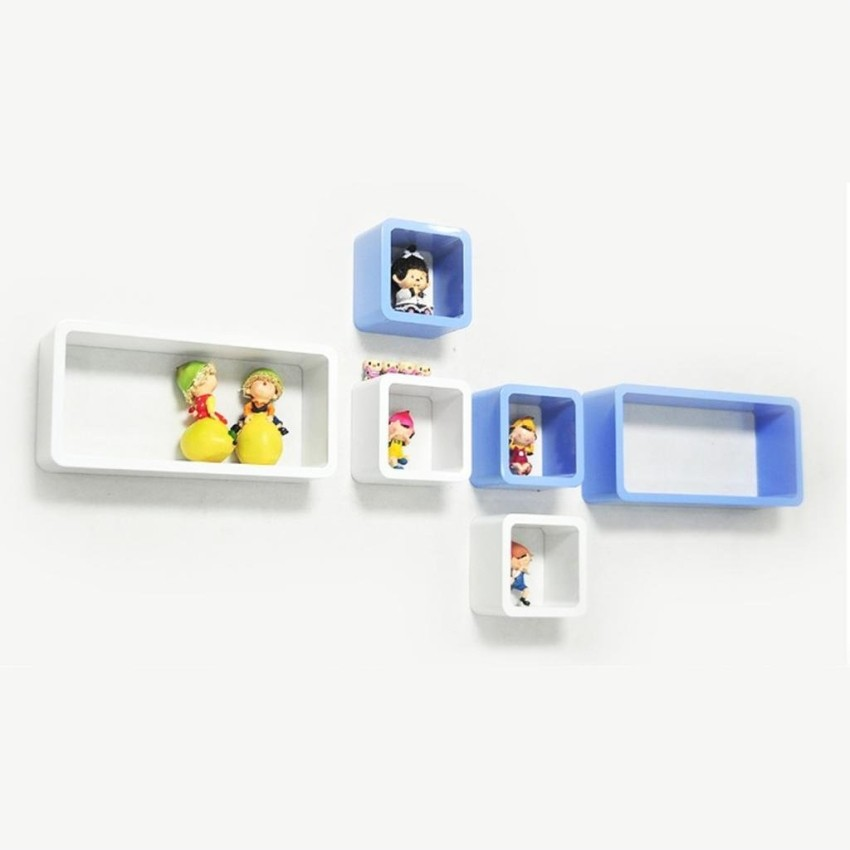 View Wallz Art Cube Rectangle MDF Wall Shelf(Number of Shelves - 6, White) Furniture (Wallz Art)