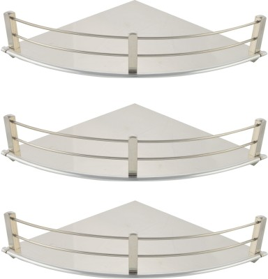 Dolphy Corner 9x9 Inch-Set Of 3 Stainless Steel Wall Shelf