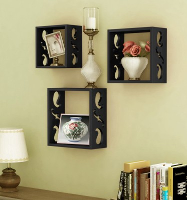Decorhand Wooden Wall Shelf(Number of Shelves - 3, Black)