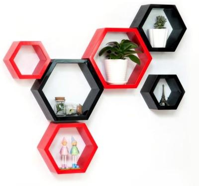 HardikaFurniture hexagon red and black 6 MDF Wall Shelf