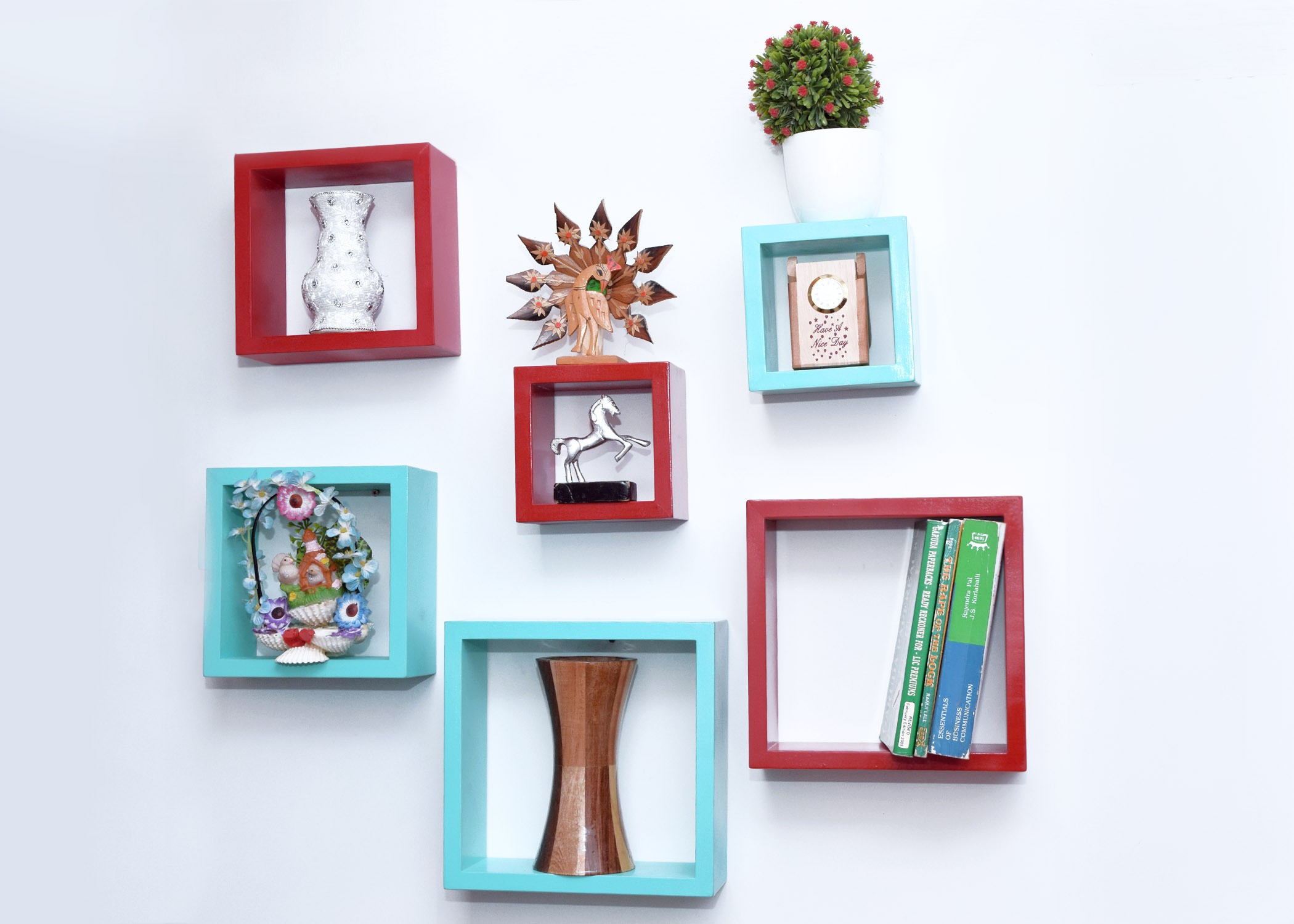 View Decor India Craft MDF Wall Shelf(Number of Shelves - 6, Red, Green) Furniture (Decor India Craft)
