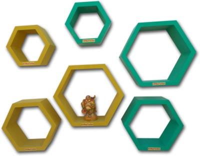 BM WOOD FURNITURE Hexagon Wall Shelves MDF Wall Shelf