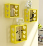 Home Sparkle 3 Cube Shelves Wooden Wall ...