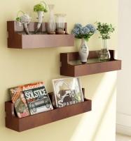 Home Sparkle Set of 3 Pocket MDF Wall Shelf(Number of Shelves - 3, Brown)