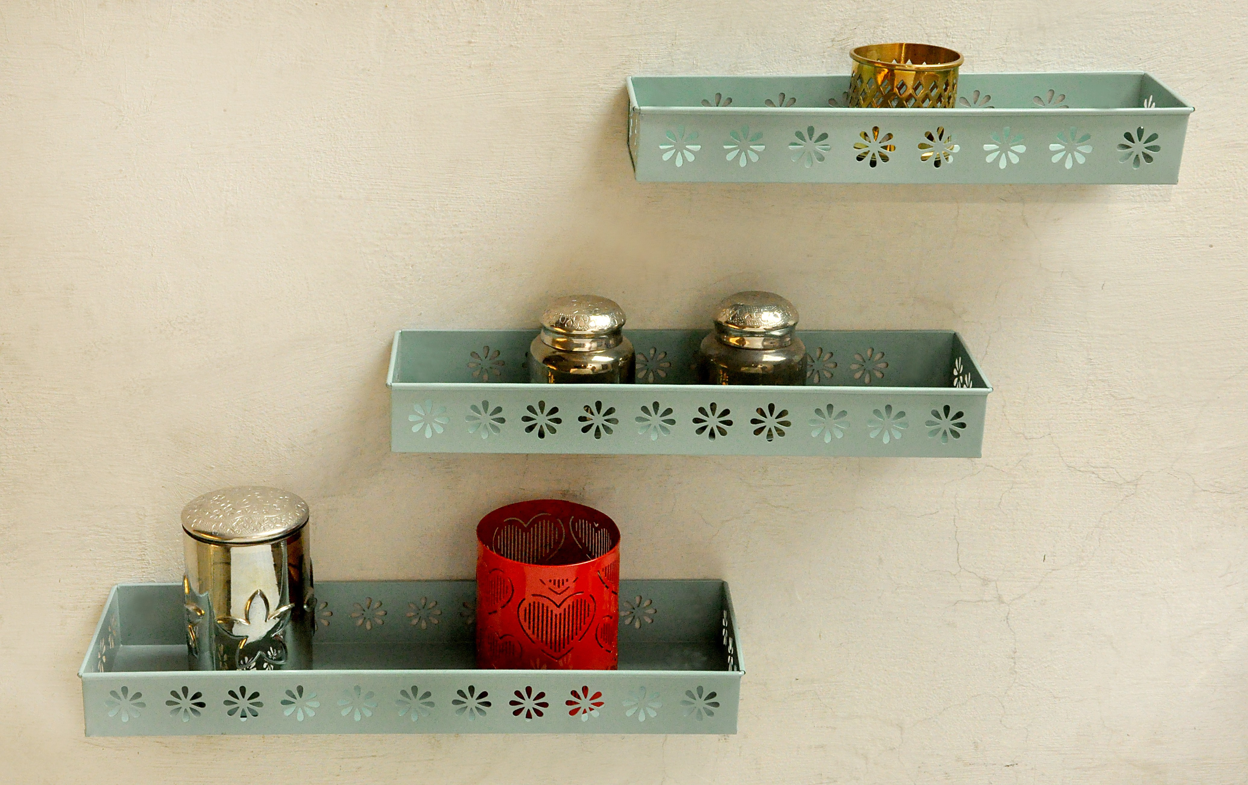 View Logam Metal Sky blue ( Set of Three) Iron Wall Shelf(Number of Shelves - 3, Blue) Furniture (Logam)