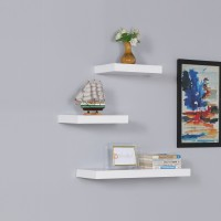 DriftingWood Storage Wooden Wall Shelf(Number of Shelves - 3, White)