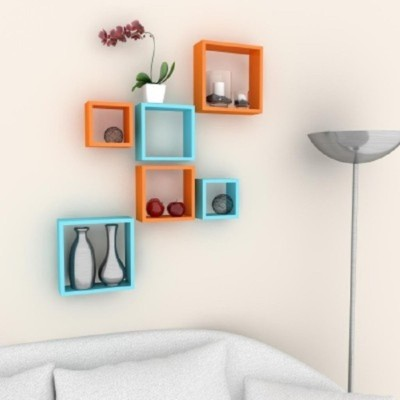 Home Sparkle Set of 6 Cubes Wall Shelves MDF Wall Shelf