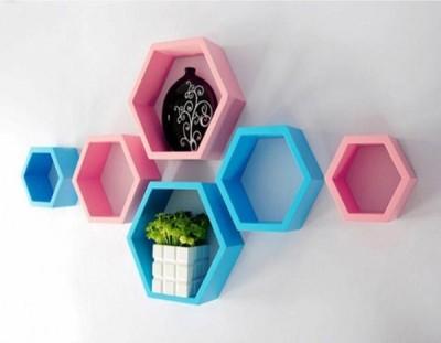 Ganeshaas Gphxd019bpsb Baby Pink N Blue Beehive Hexagon Floating MDF Wall Shelf