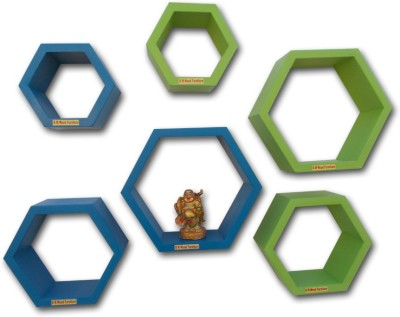BM WOOD FURNITURE Hexagon shaped MDF Wall Shelf