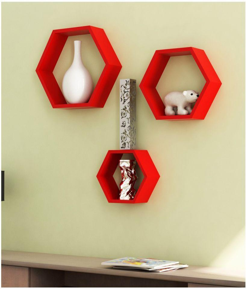 View Choice Cloud Wooden Wall Shelf(Number of Shelves - 3, Red) Furniture (Choice Cloud)