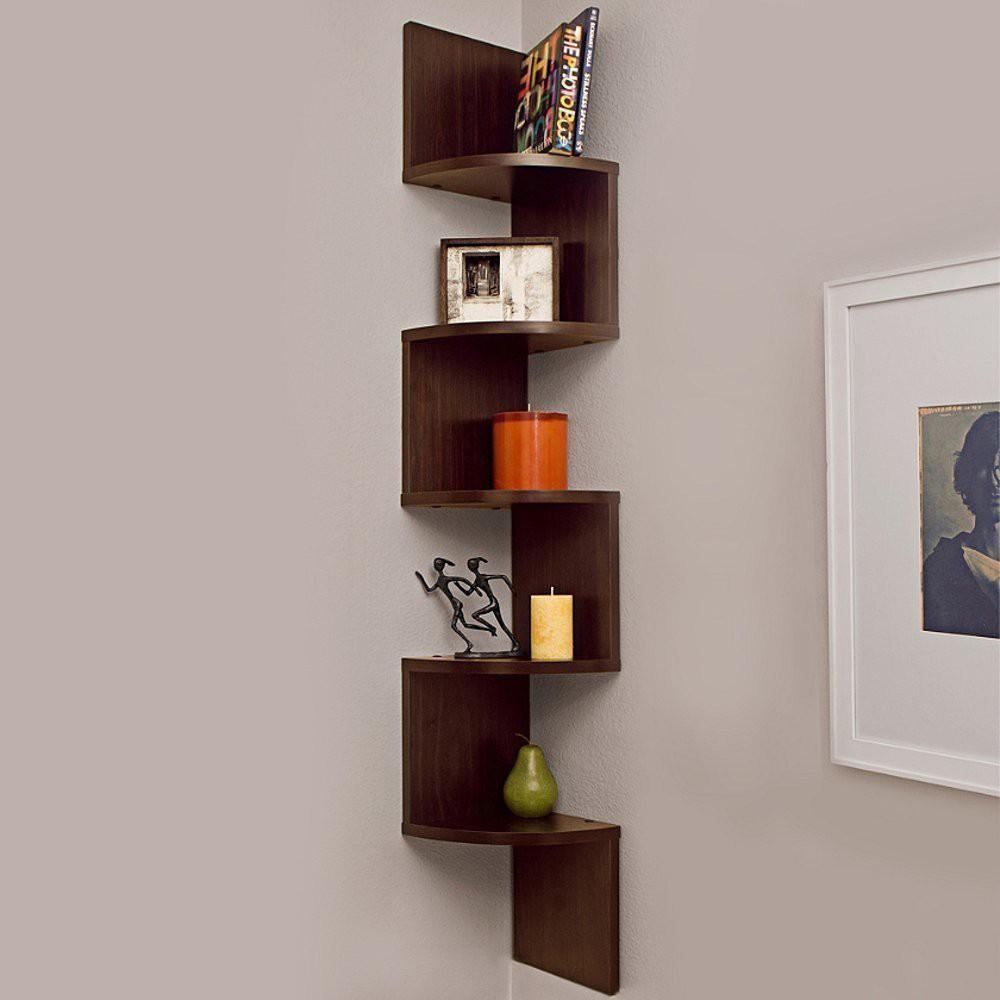 View Custom Decor Zig Zag Corner Wooden Wall Shelf(Number of Shelves - 5, Brown) Furniture (Custom Decor)