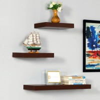 DriftingWood Storage Wooden Wall Shelf(Number of Shelves - 3, Brown)