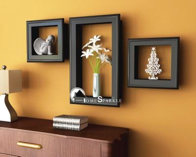 Home Sparkle Frame Shaped Wooden Wall Shelf