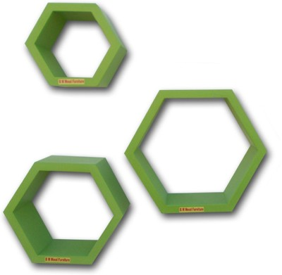 BM WOOD FURNITURE Hexagon Wall Rack - Set of 3 Shelves Wooden Wall Shelf