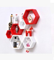 Onlineshoppee Wooden Wall Shelf(Number of Shelves - 6, Red, White)