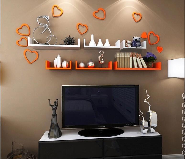 View Ganeshaas GHWSDU004OW Orange White MDF Wall Shelf(Number of Shelves - 6, Orange, White) Furniture (Ganeshaas)