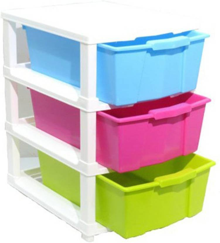 View Royaldealshop Plastic Wall Shelf(Number of Shelves - 3, Multicolor) Furniture (Royaldealshop)