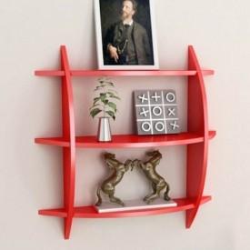 Onlineshoppee 3 Tier Wooden Wall Shelves/Rack Wooden Wall Shelf(Number of Shelves - 3, Red)