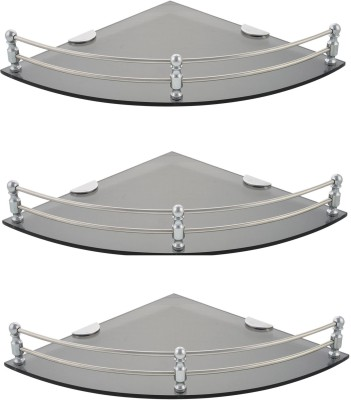 Dolphy Smoke Corner 9x9 Inch-Set Of 3 Microfibre, Stainless Steel Wall Shelf
