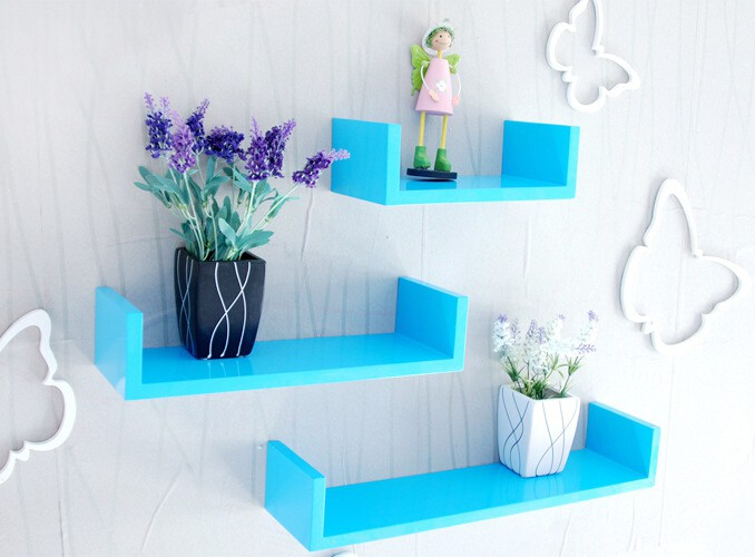 View Decor India Craft cyan green- mdf wall shelf-floating wall shelves.-storage cubes. MDF Wall Shelf(Number of Shelves - 3, Blue) Furniture (Decor India Craft)