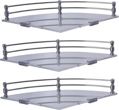 Dolphy Set Of 3 Corner Shelf Stainless Steel, Microfibre Wall Shelf