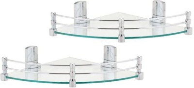 royaL indian craft 8 Inch Pack of 2 Glass Wall Shelf