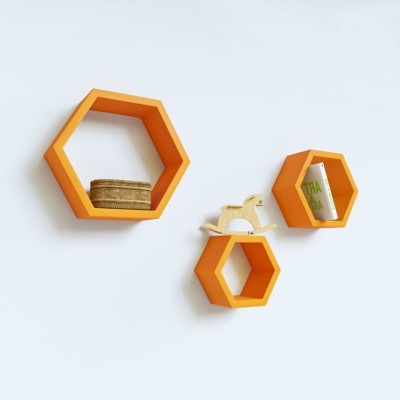 Home Sparkle Set of 3 Hexagonal Wall Shelves MDF Wall Shelf