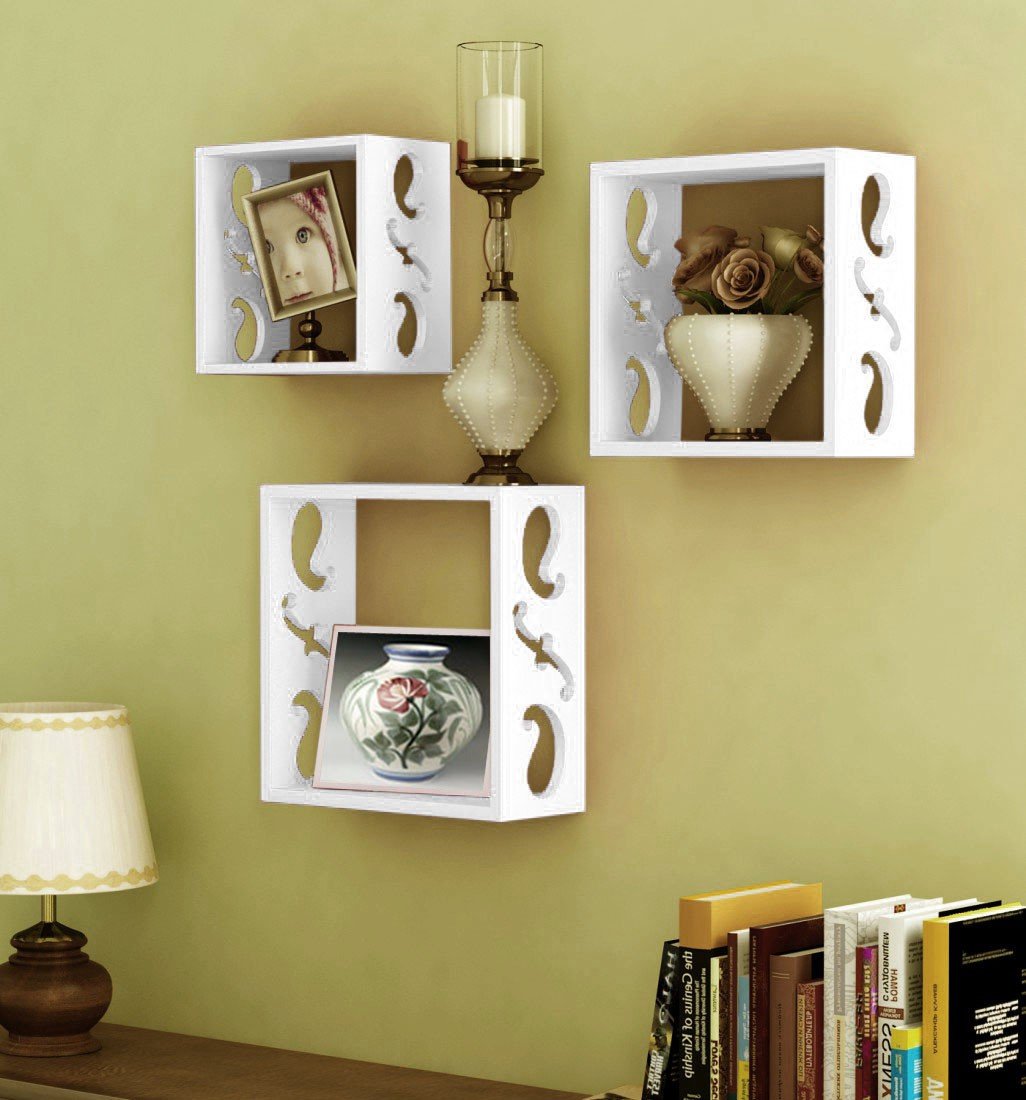 View Decorhand Wooden Wall Shelf(Number of Shelves - 3, White) Furniture (Decorhand)