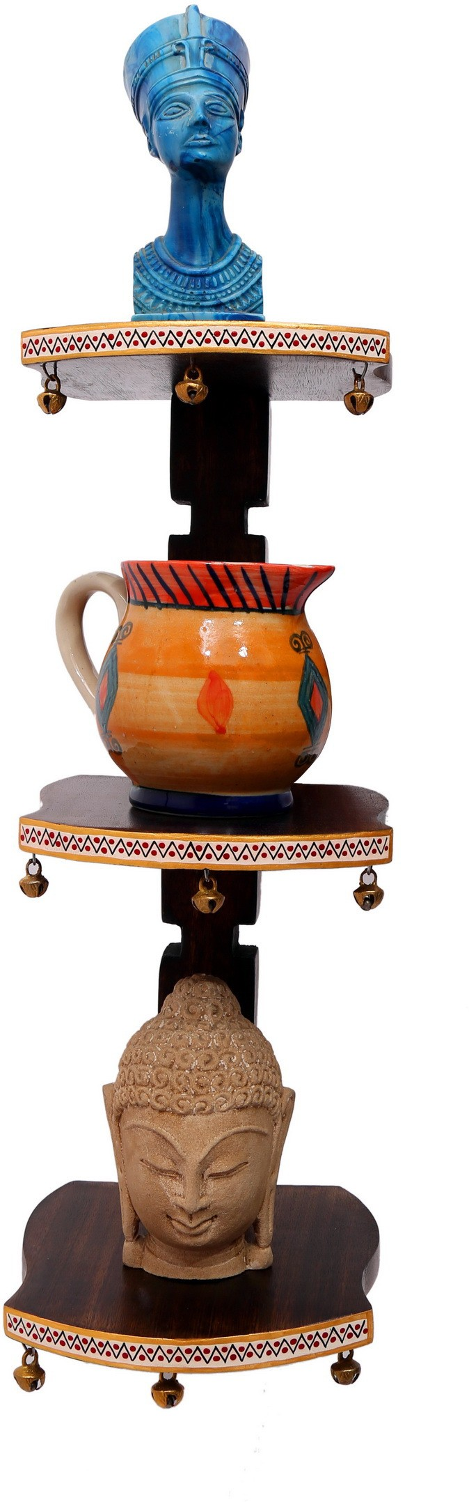 View Indikala Wooden Stand with Three Flaps with Ghungroos at Base ( 18 Inch Tall ) ,( DISPATCHED Without Showpiece ) Wooden, Earthenware Wall Shelf(Number of Shelves - 3, Brown) Price Online(Indikala)