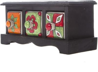 Fashion Craft Rajasthani art worked drawers Wooden, Ceramic Wall Shelf