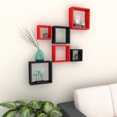 Ganeshaas GHWSDS03RB Wooden Wall Shelf